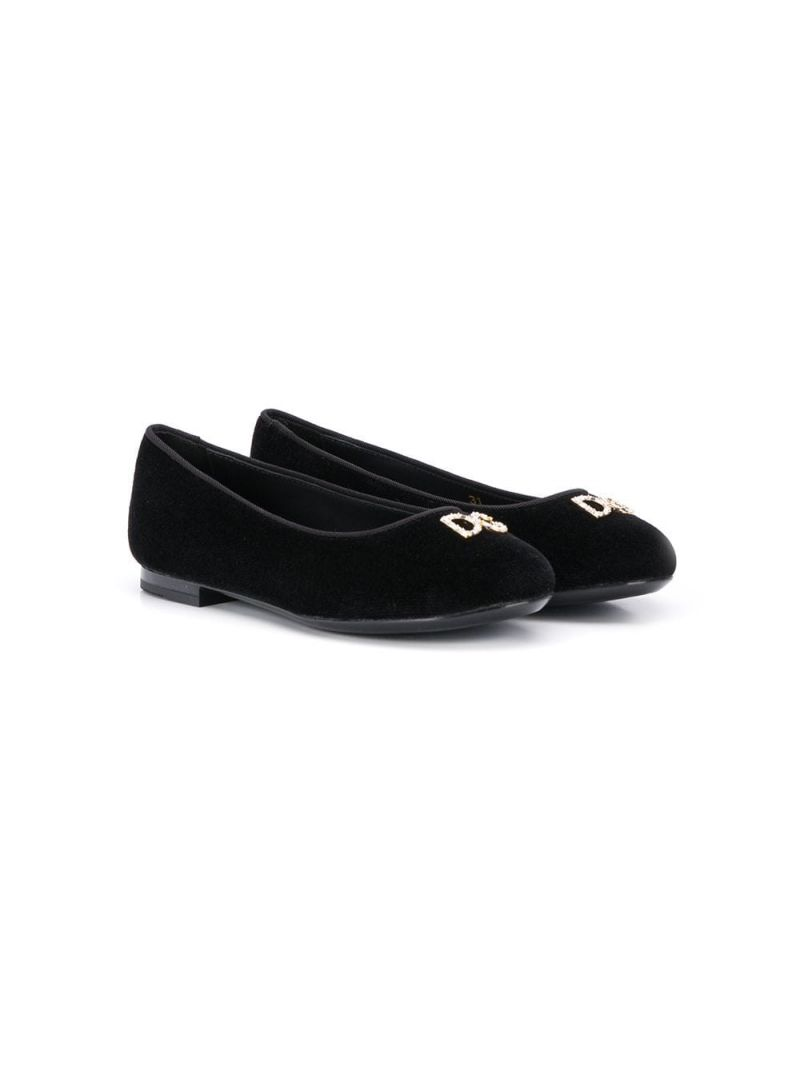 DOLCE & GABBANA CHILDREN: velvet ballet flats with crystals embellished logo Color Black_1