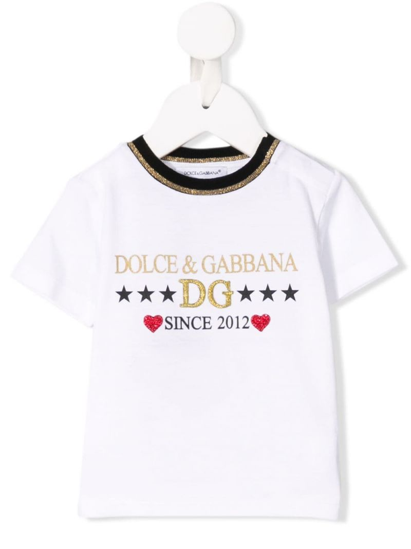 DOLCE & GABBANA CHILDREN: t-shirt in jersey stampa DG Since 2012 Colore Bianco_1
