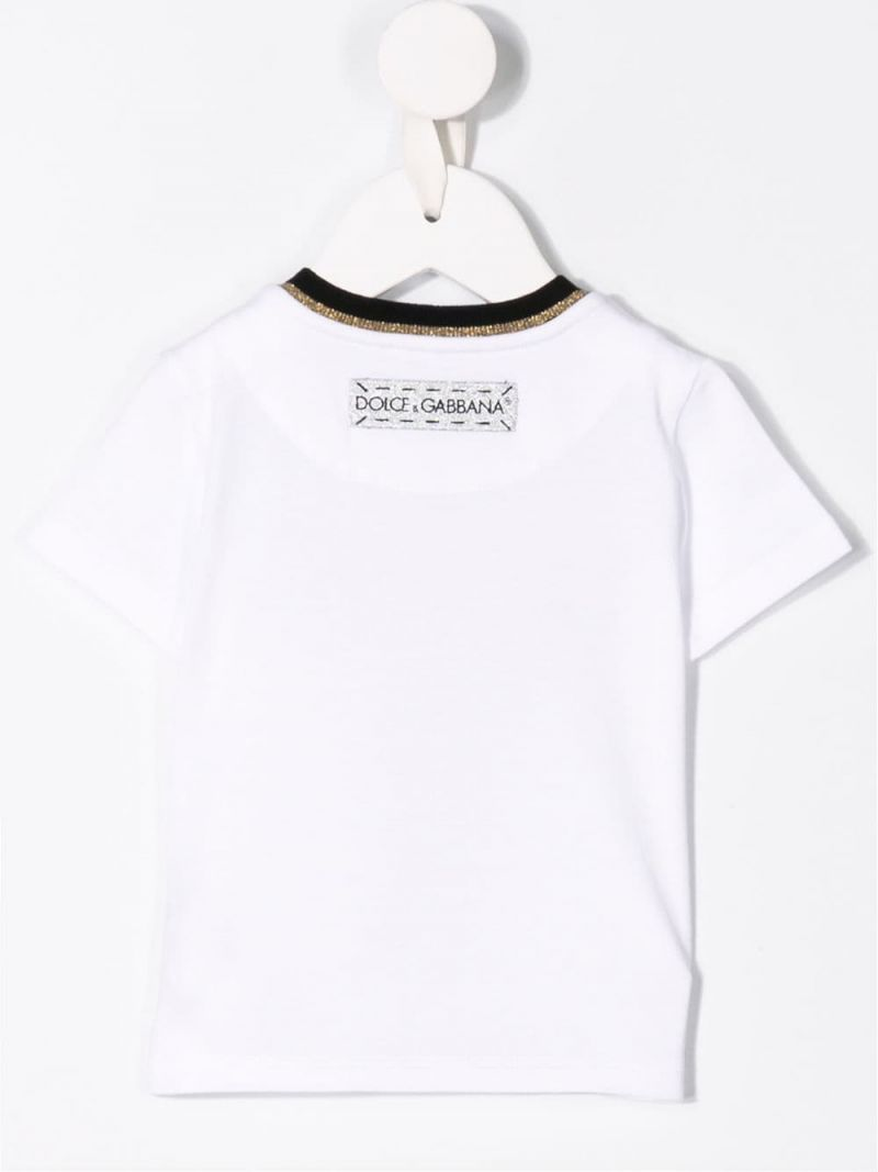 DOLCE & GABBANA CHILDREN: t-shirt in jersey stampa DG Since 2012 Colore Bianco_2