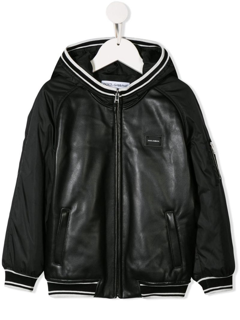 DOLCE & GABBANA CHILDREN: leather bomber jacket with nylon sleeves Color Black_1