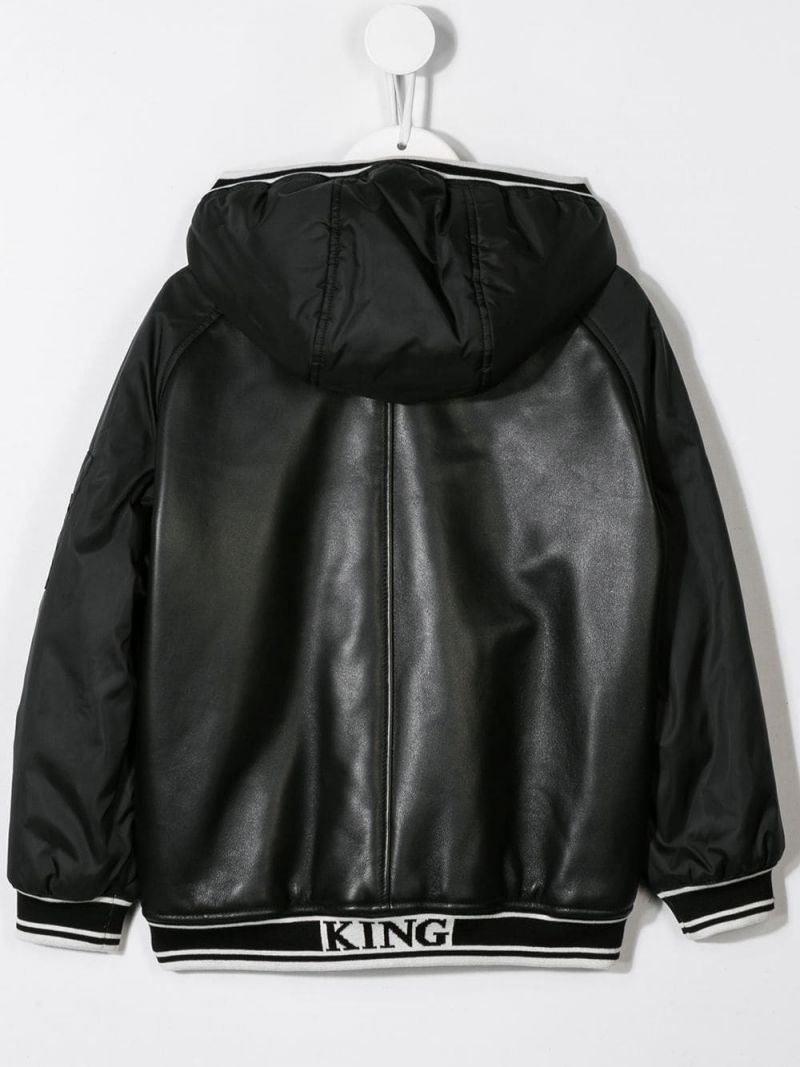 DOLCE & GABBANA CHILDREN: leather bomber jacket with nylon sleeves Color Black_2