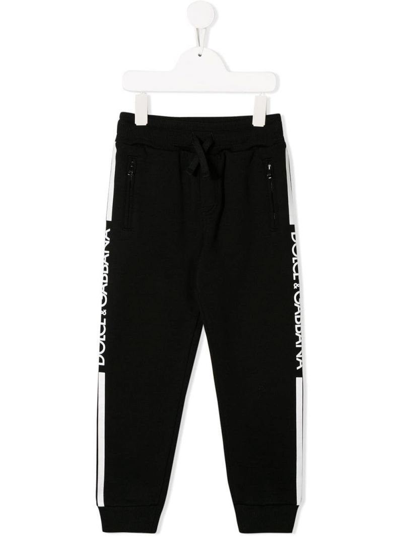 DOLCE & GABBANA CHILDREN: logo print cotton joggers Color Black_1