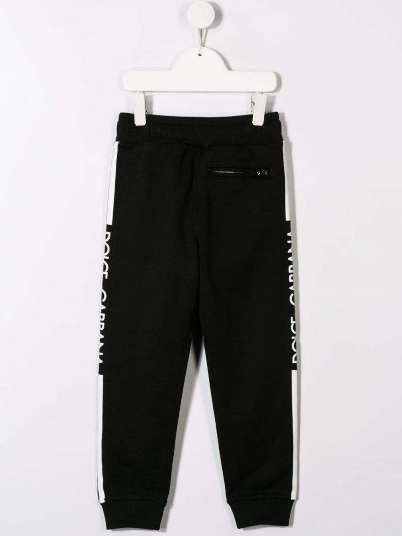 DOLCE & GABBANA CHILDREN: logo print cotton joggers Color Black_2