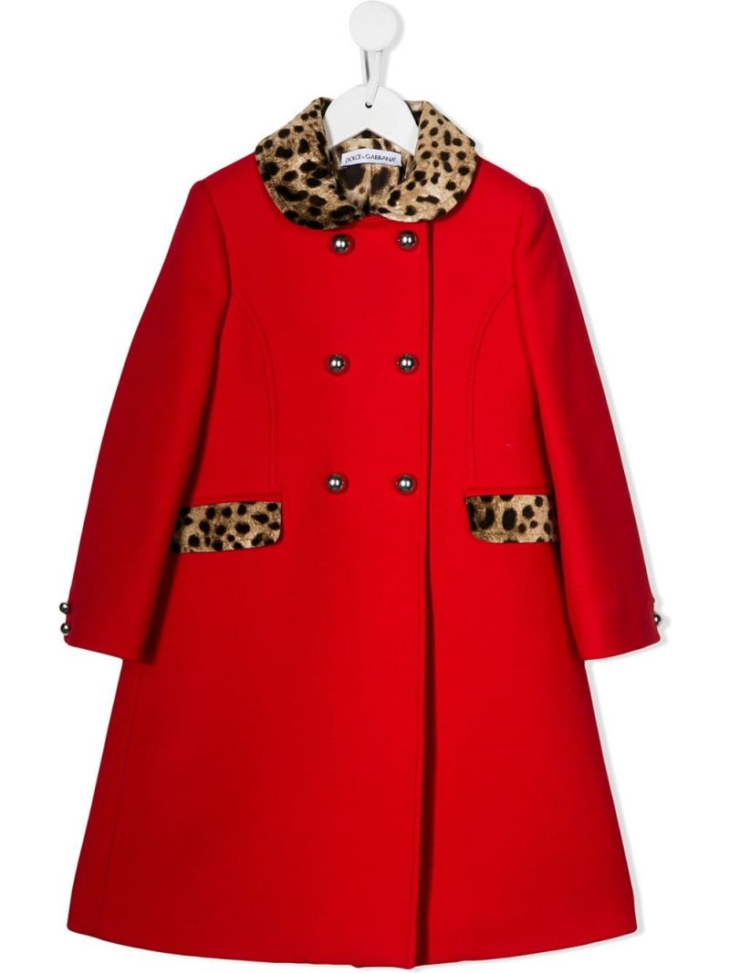 DOLCE & GABBANA CHILDREN: crepe double-breasted coat Color Red_1