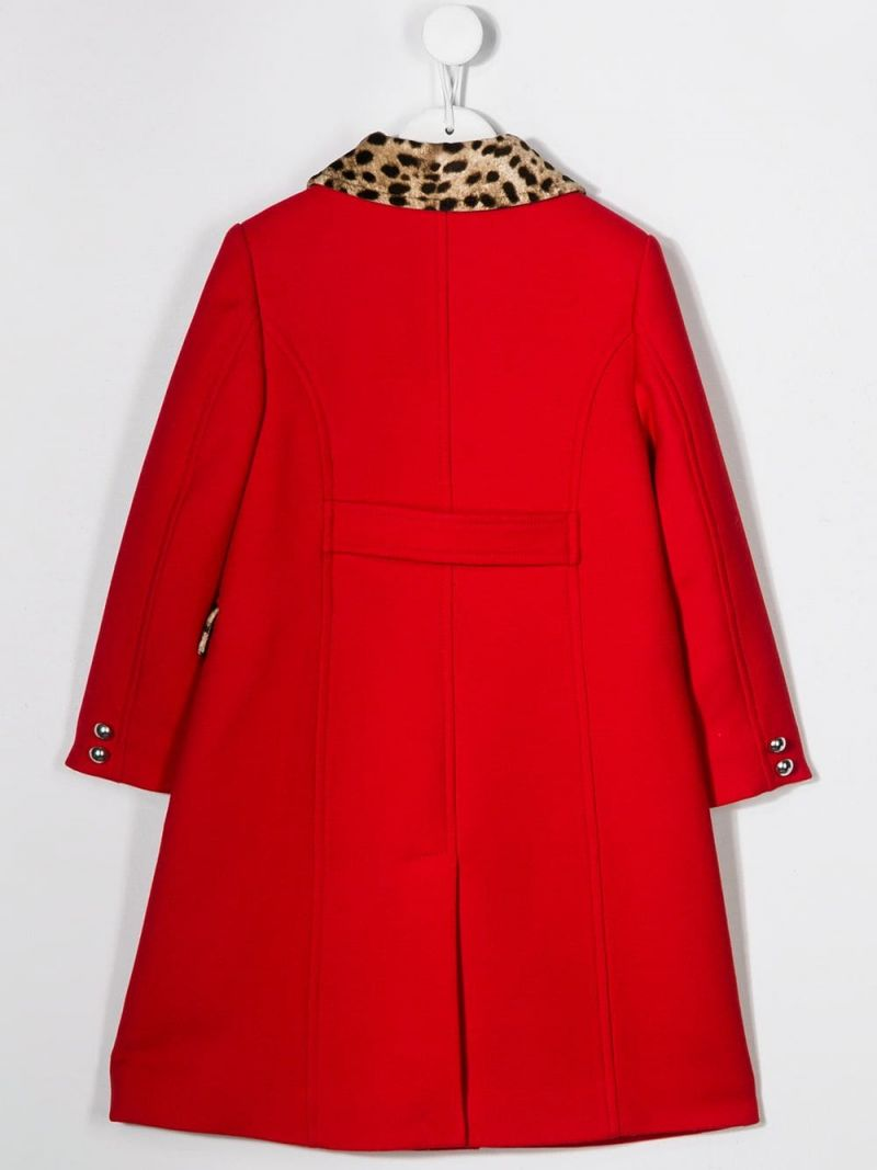 DOLCE & GABBANA CHILDREN: crepe double-breasted coat Color Red_2