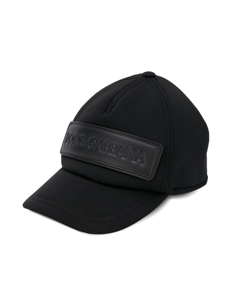 DOLCE & GABBANA CHILDREN: cappellino da baseball in neoprene patch logo Colore Nero_1