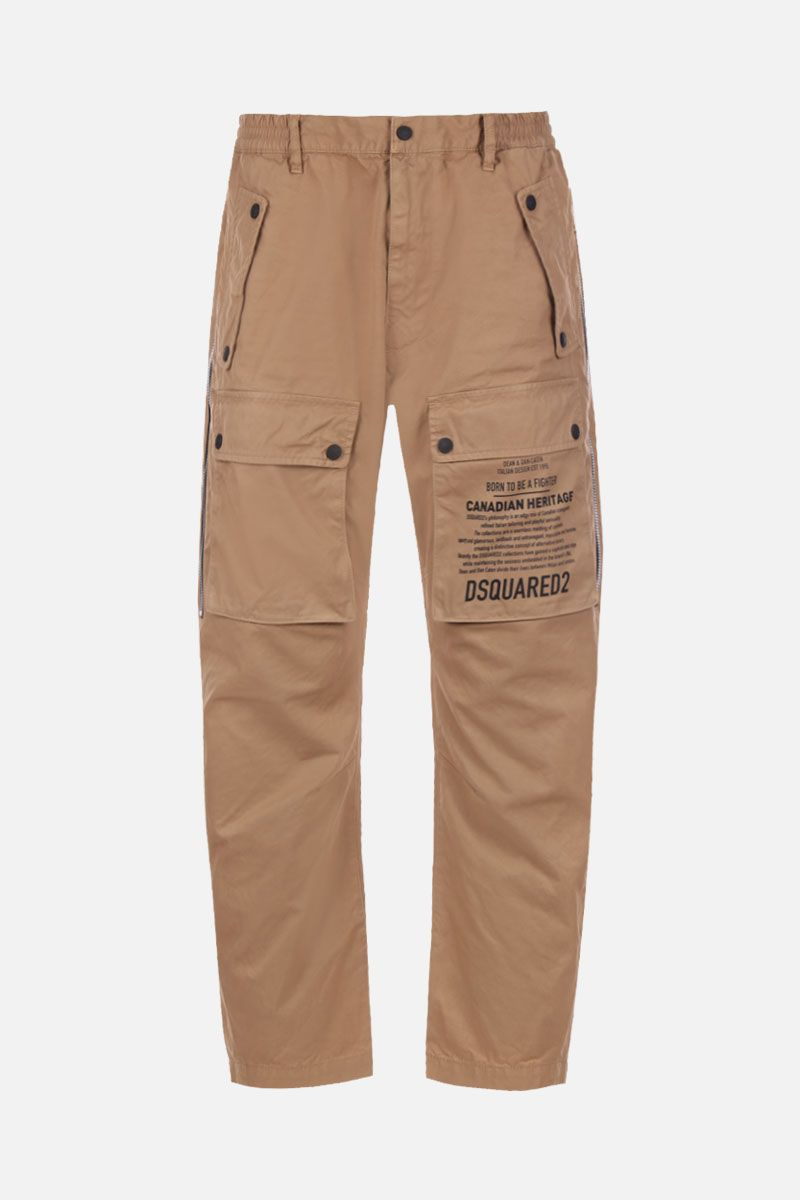 DSQUARED2: pantalone cargo in cotone con zip laterale Colore Neutro_1