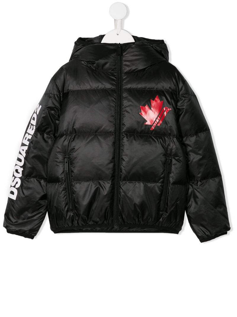 DSQUARED2 KIDS: Canadian Leaf printed nylon down jacket Color Black_1