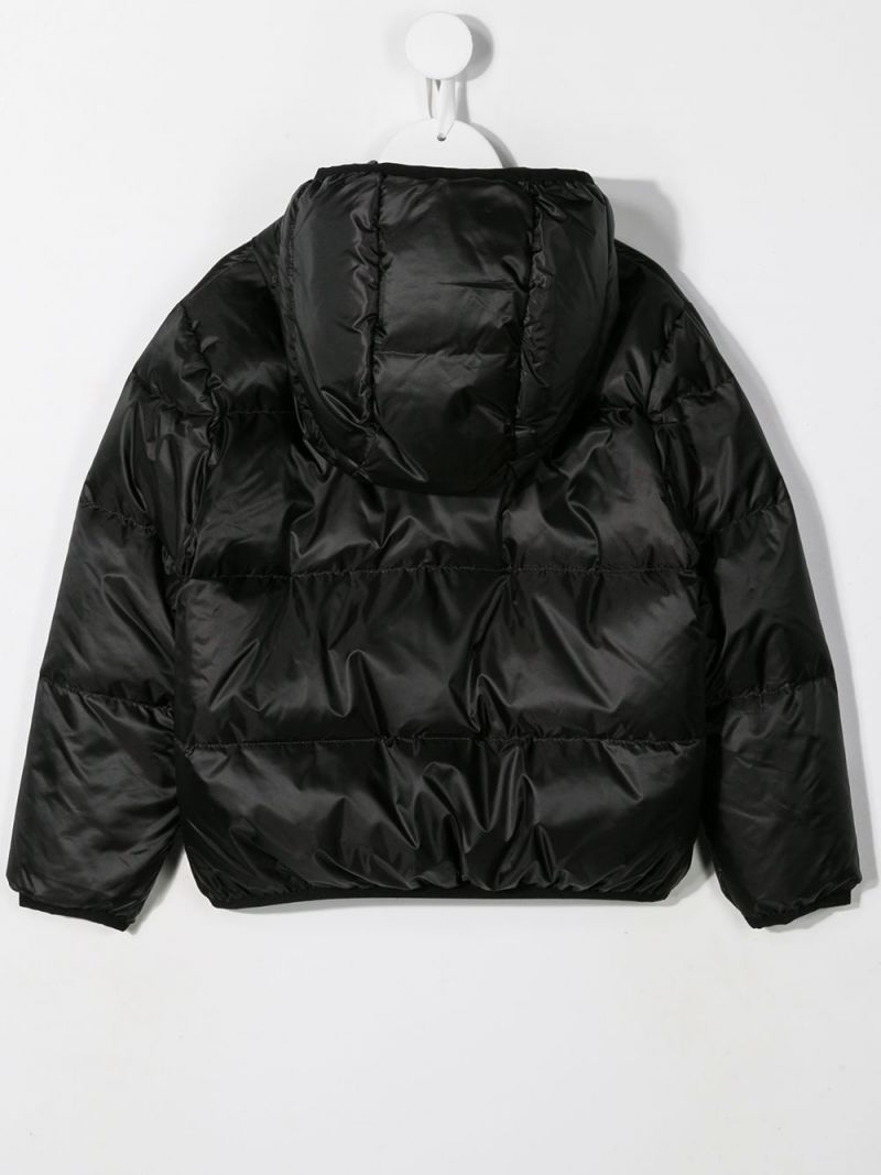 DSQUARED2 KIDS: Canadian Leaf printed nylon down jacket Color Black_2