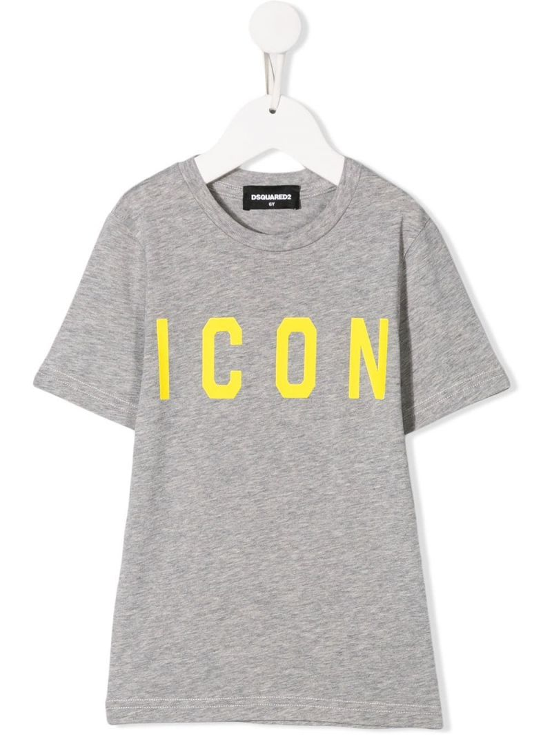 DSQUARED2 KIDS: Icon print jersey t-shirt Color Grey_1