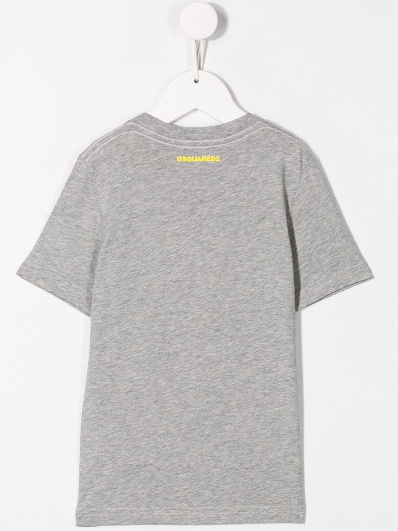 DSQUARED2 KIDS: Icon print jersey t-shirt Color Grey_2