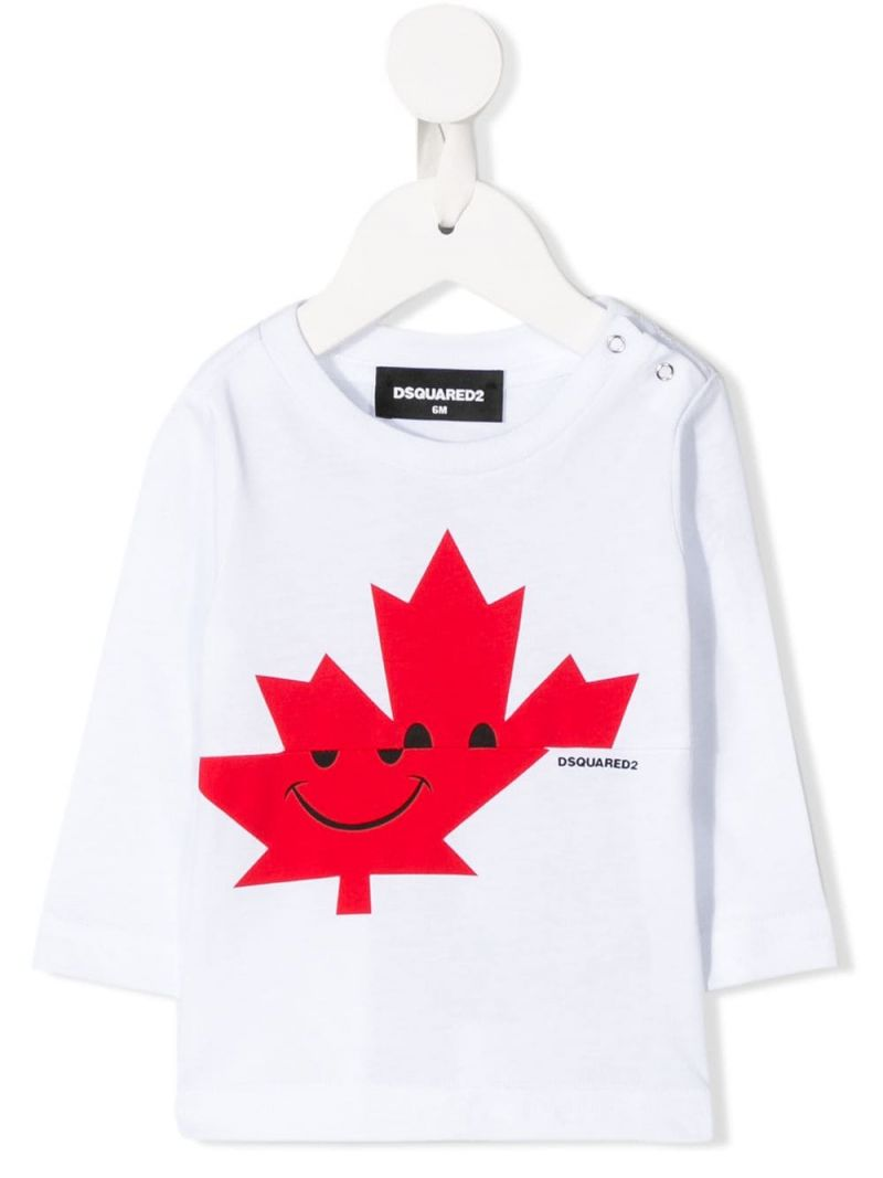 DSQUARED2 KIDS: Canadian Leaf print cotton long-sleeved t-shirt Color White_1