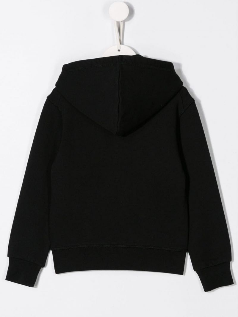 DSQUARED2 KIDS: Icon print jersey full-zip hoodie Color Black_2