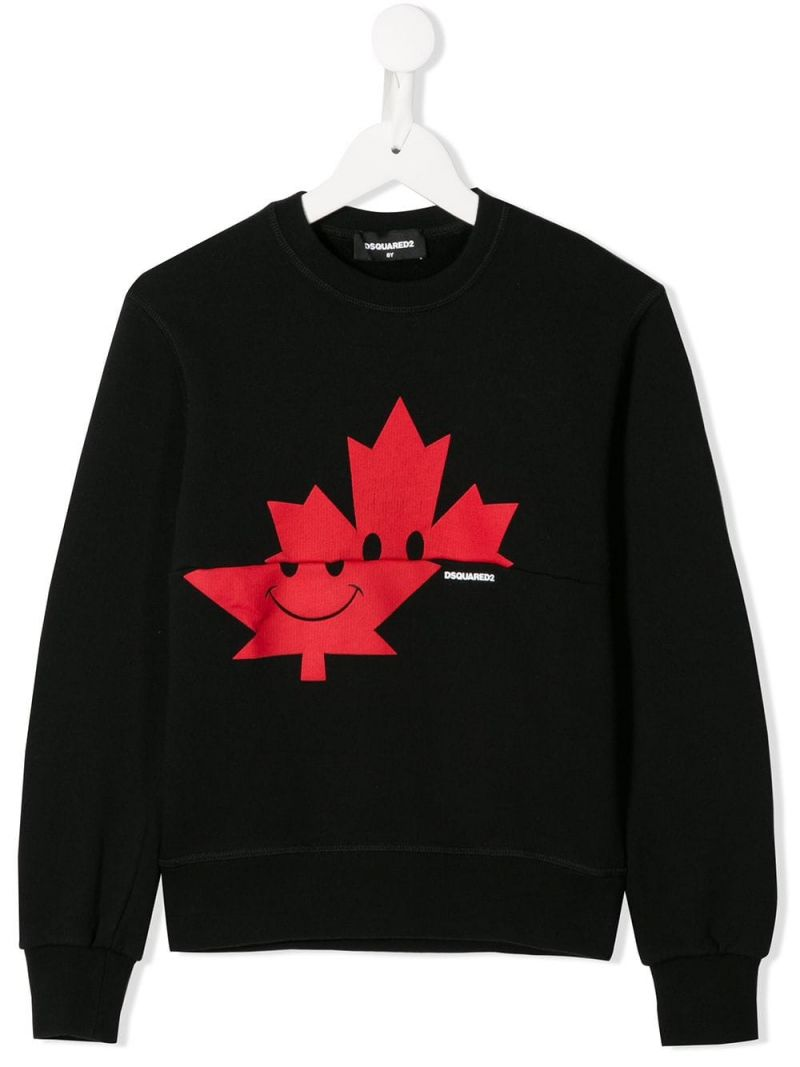 DSQUARED2 KIDS: Canadian Leaf print jersey sweatshirt Color Black_1