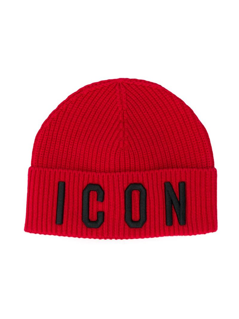 DSQUARED2 KIDS: Icon wool cotton blend beanie Color Red_1