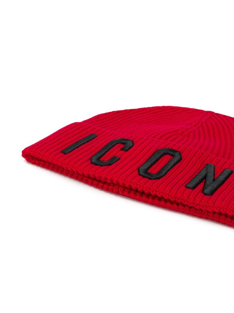 DSQUARED2 KIDS: Icon wool cotton blend beanie Color Red_2