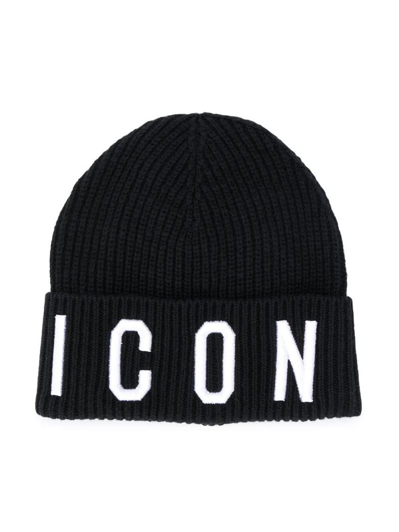 DSQUARED2 KIDS: Icon wool cotton blend beanie Color Black_1