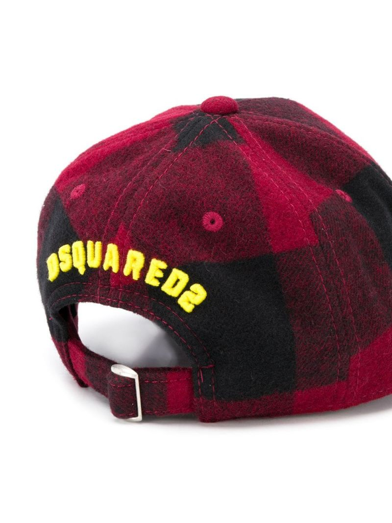 DSQUARED2 KIDS: cappellino da baseball Icon in flanella a quadri_2