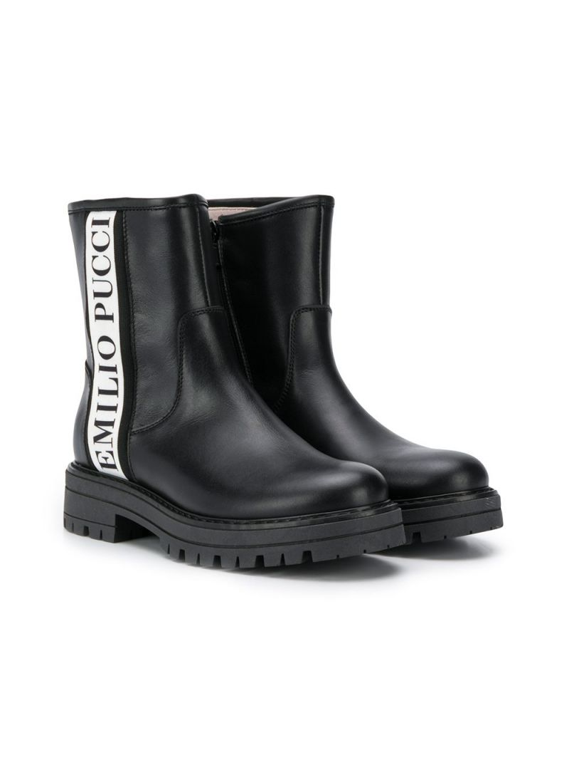EMILIO PUCCI JUNIOR: smooth leather ankle boots with logoed bands Color Black_1