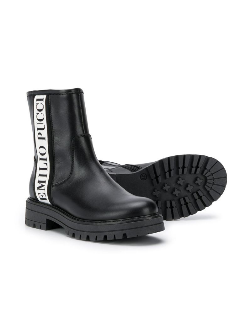 EMILIO PUCCI JUNIOR: smooth leather ankle boots with logoed bands Color Black_2