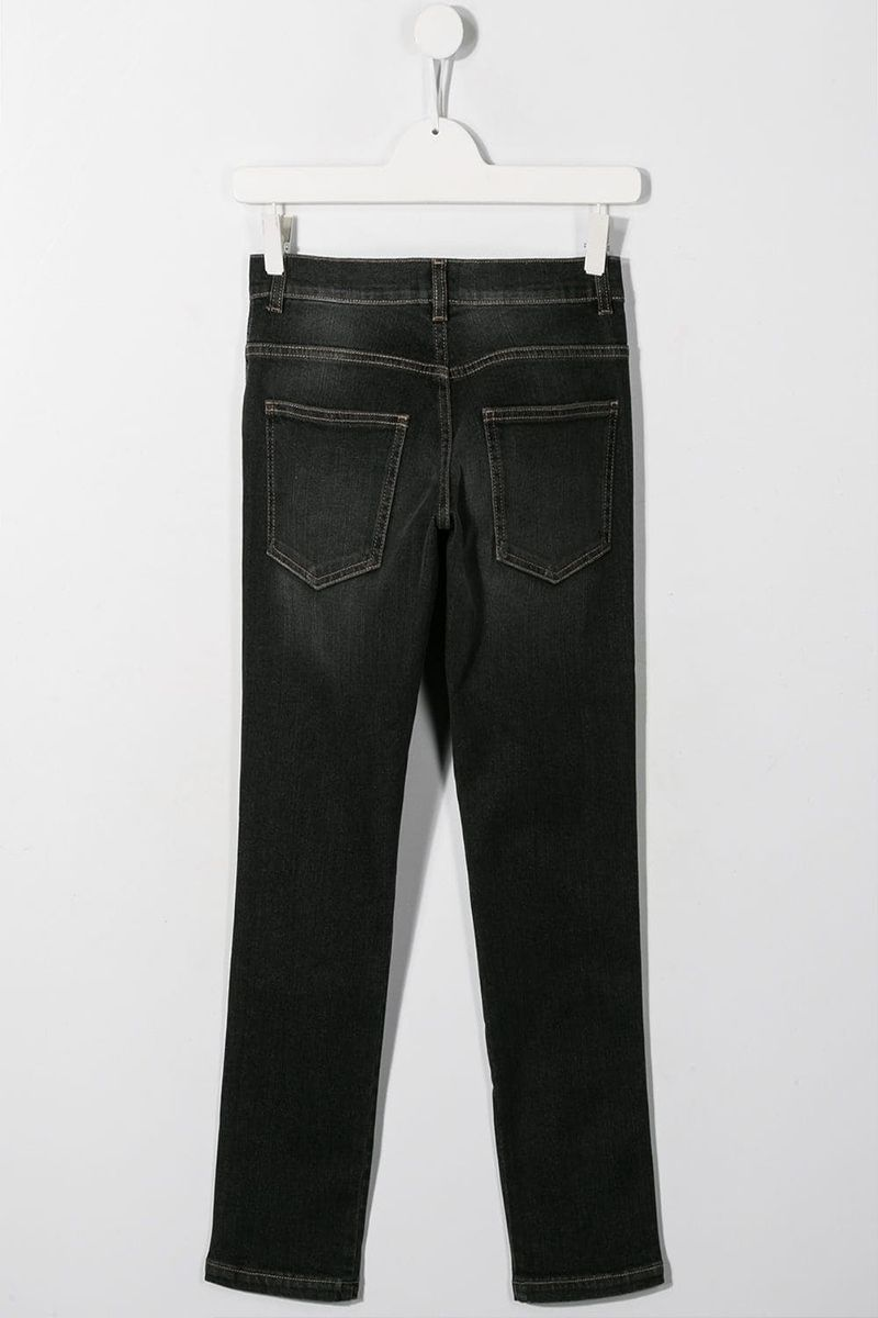 FENDI KIDS: slim-fit jeans with FF bands Color Black_2