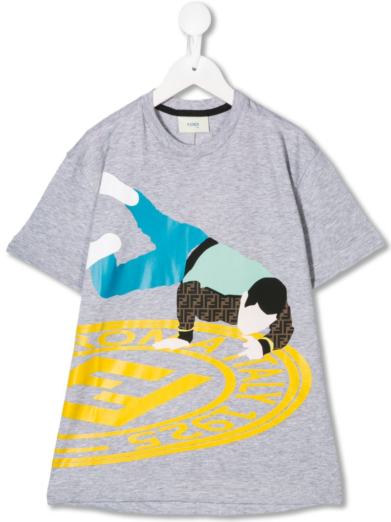 FENDI KIDS: graphic print cotton t-shirt_1