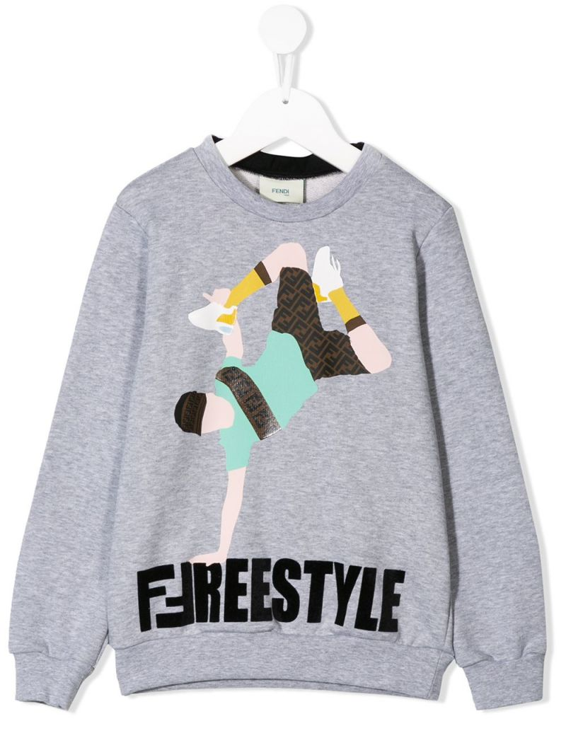 FENDI KIDS: Freestyle print jersey sweatshirt Color Grey_1