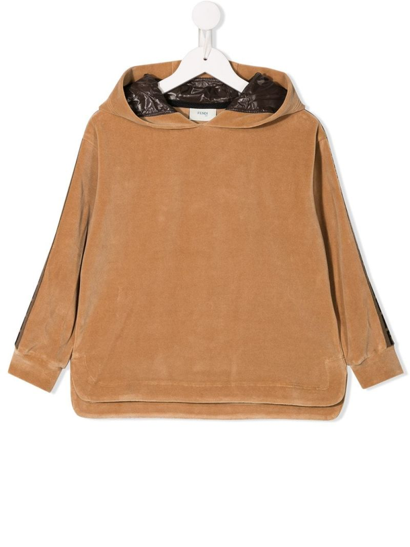 FENDI KIDS: velvet hoodie with FF bands Color Neutral_1