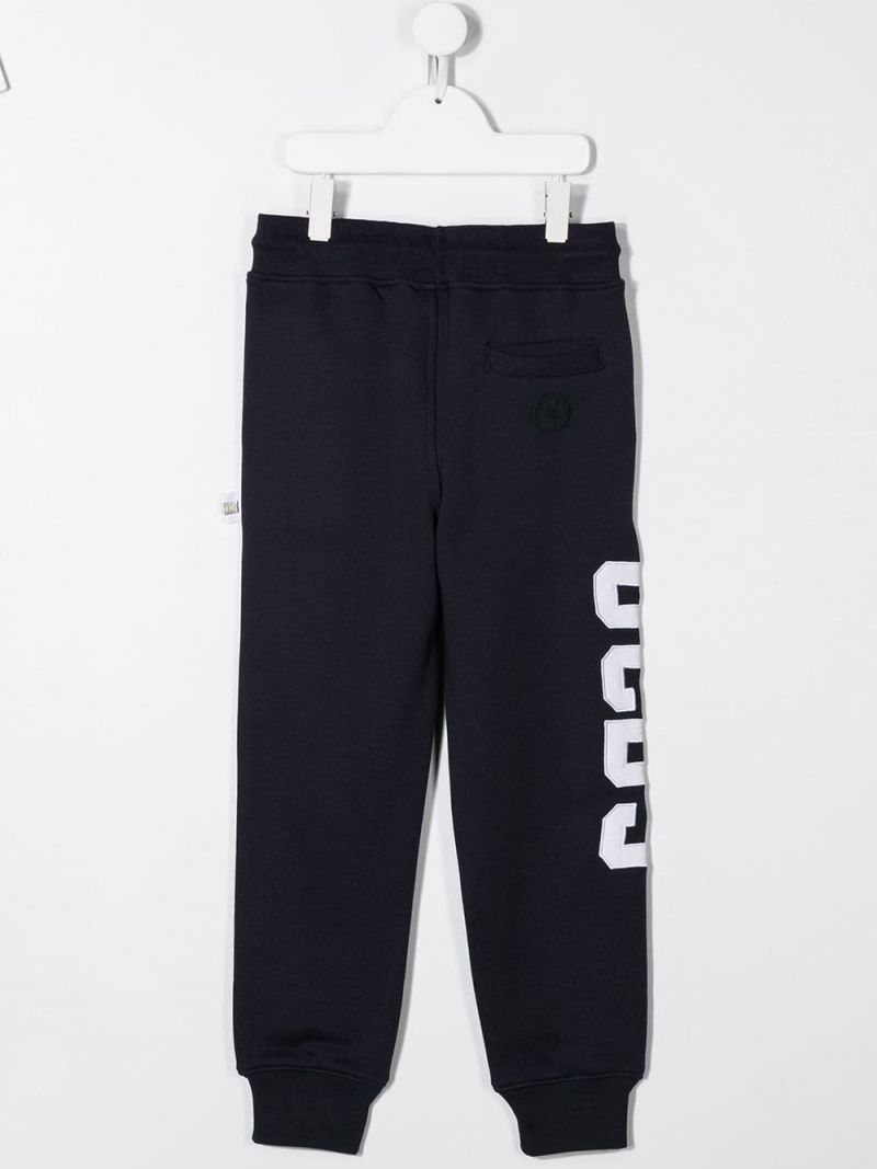 GCDS MINI: logo embroidered jersey joggers Color Blue_2