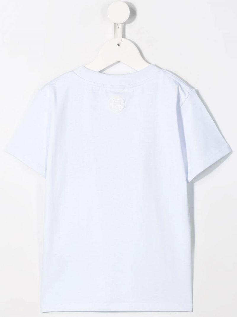 GCDS MINI: logo embroidered jersey t-shirt Color White_2