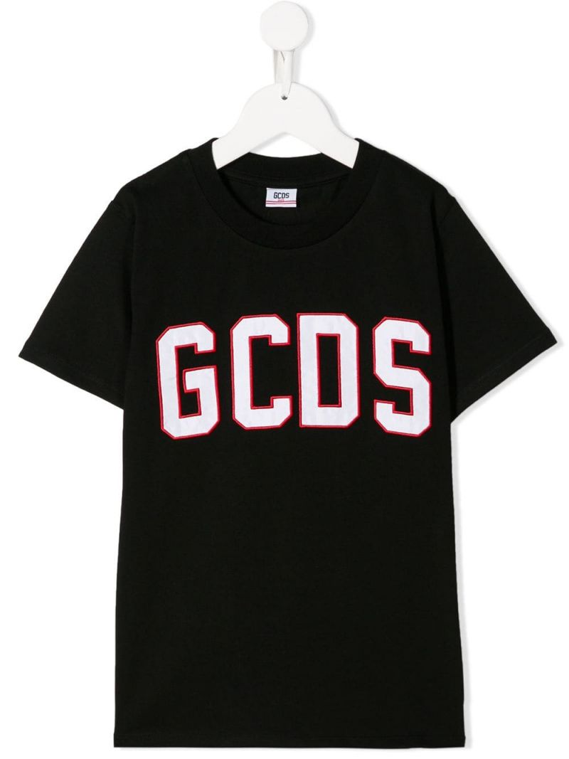 GCDS MINI: logo embroidered jersey t-shirt Color Black_1