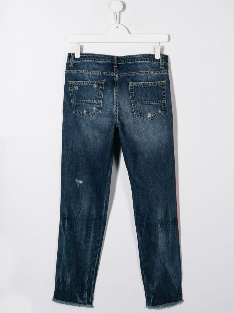 GCDS MINI: distressed effect jeans with logoed bands Color Black_2