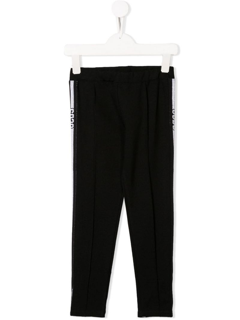 GCDS MINI: stretch jersey legging with logoed bands Color Black_1