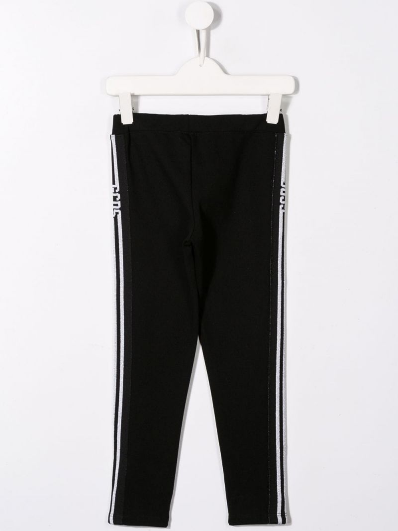 GCDS MINI: stretch jersey legging with logoed bands Color Black_2