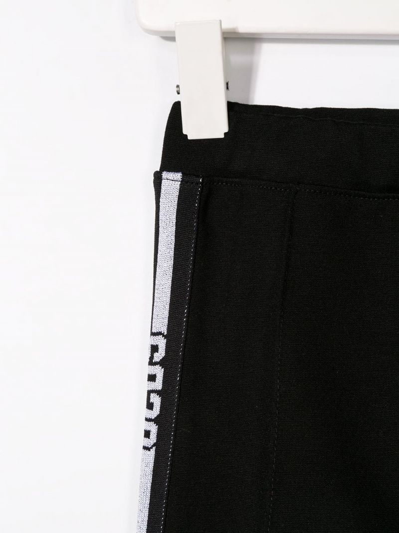 GCDS MINI: stretch jersey legging with logoed bands Color Black_3