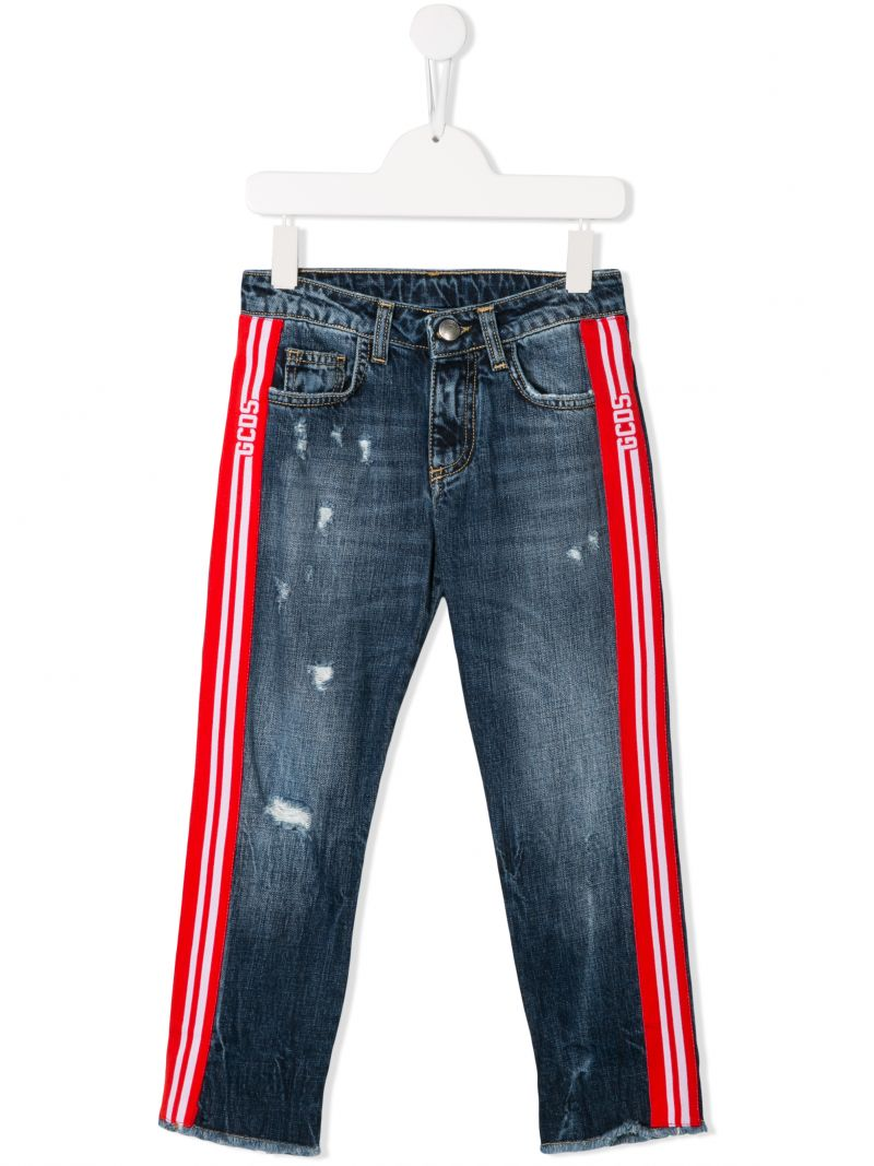 GCDS MINI: distressed effect jeans with logoed bands Color Black_1