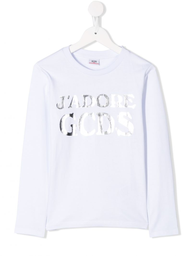 GCDS MINI: long-sleeved t-shirt in printed cotton Color White_1