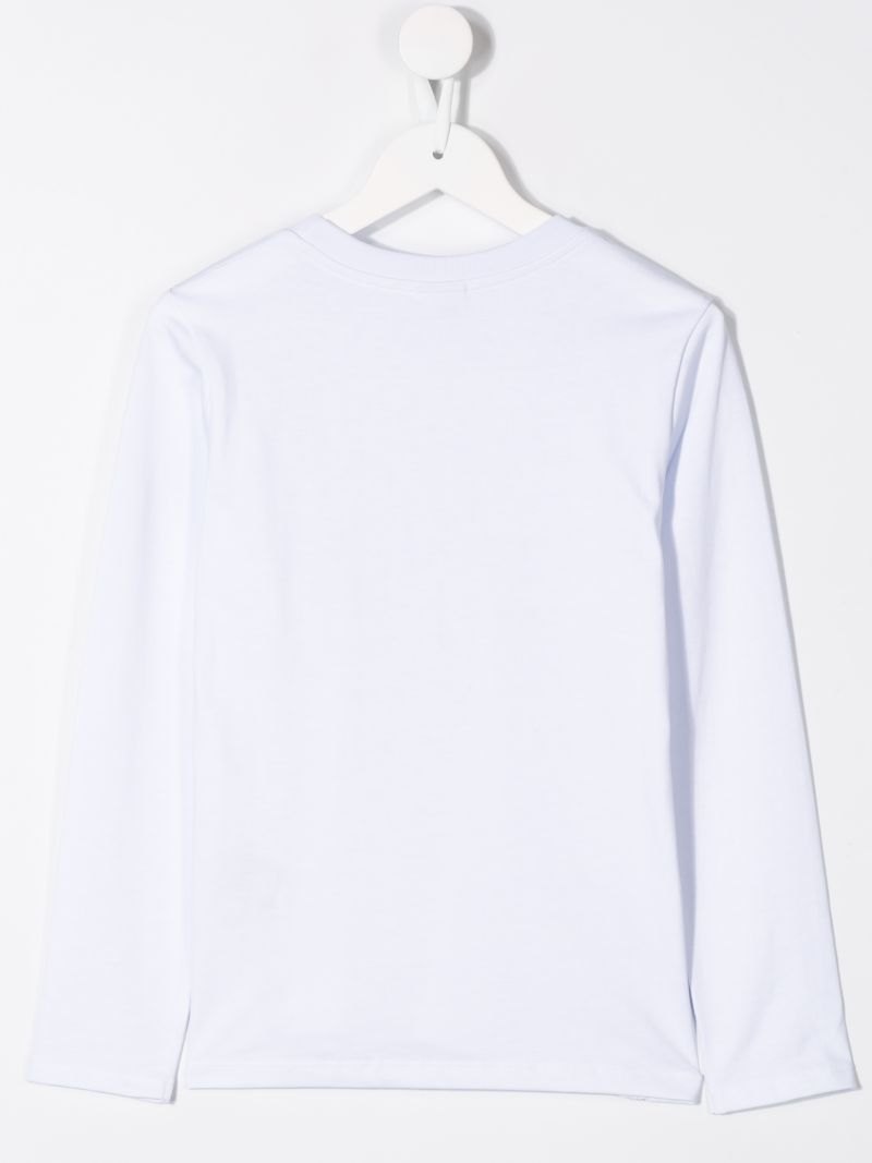 GCDS MINI: long-sleeved t-shirt in printed cotton Color White_2