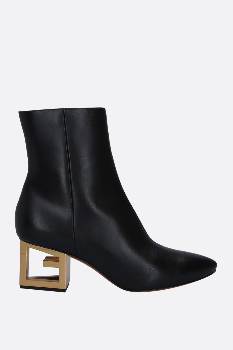 GIVENCHY: Triangle booties in smooth leather Color Black_1