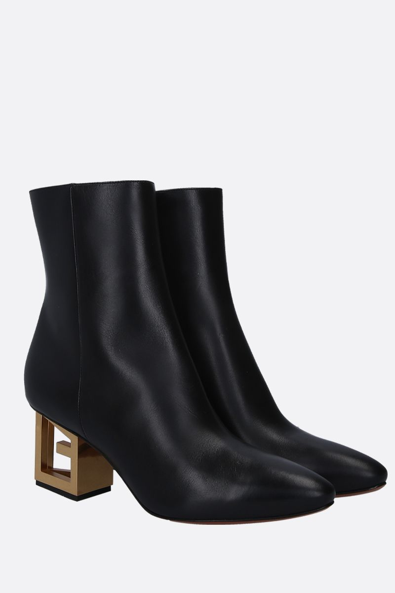 GIVENCHY: Triangle booties in smooth leather Color Black_3
