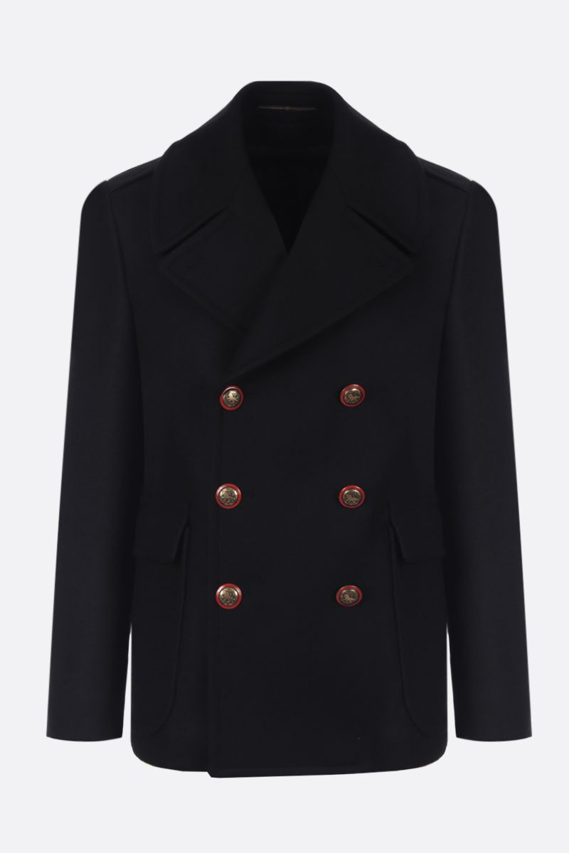 GIVENCHY: heavy wool double-breasted coat Color Black_1