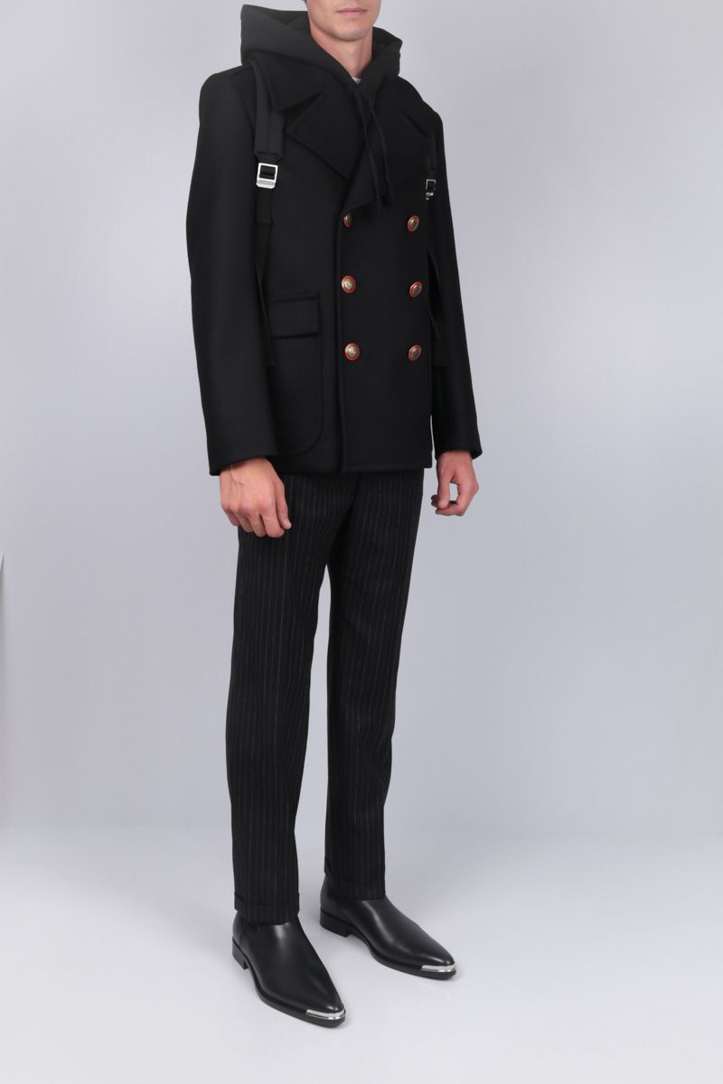 GIVENCHY: heavy wool double-breasted coat Color Black_2
