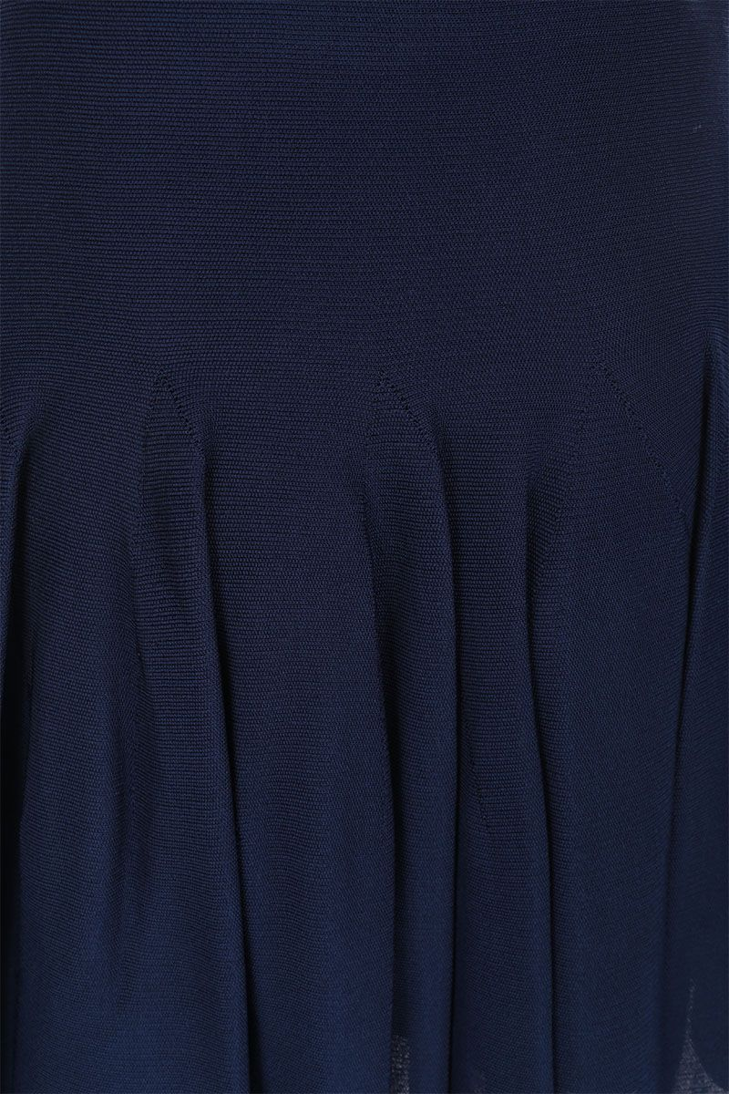 GIVENCHY: stretch knit circle skirt Color Blue_3