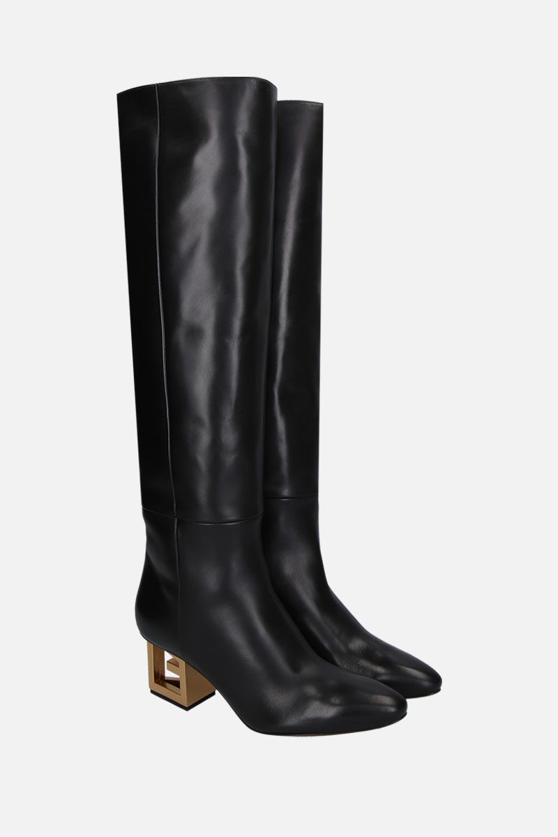 GIVENCHY: Triangle boots in smooth leather Color Black_2