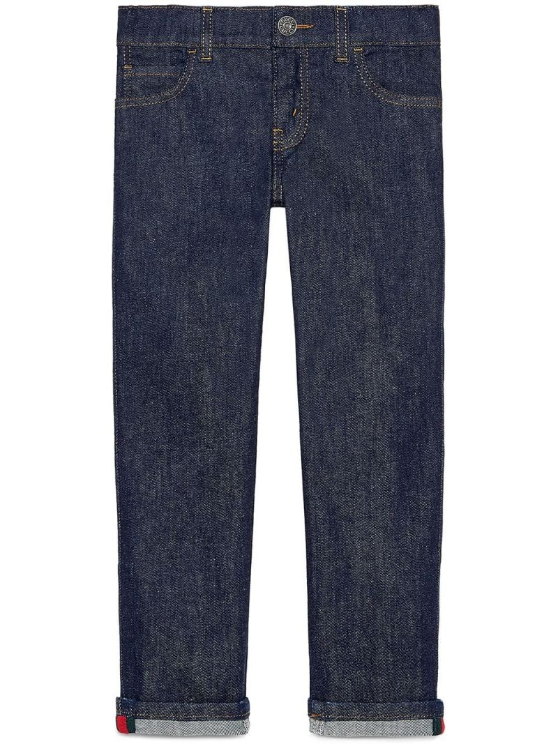 GUCCI CHILDREN: straight-fit jeans with Web details_1