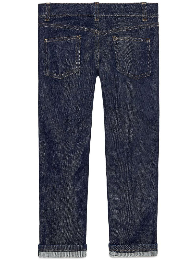 GUCCI CHILDREN: straight-fit jeans with Web details_2