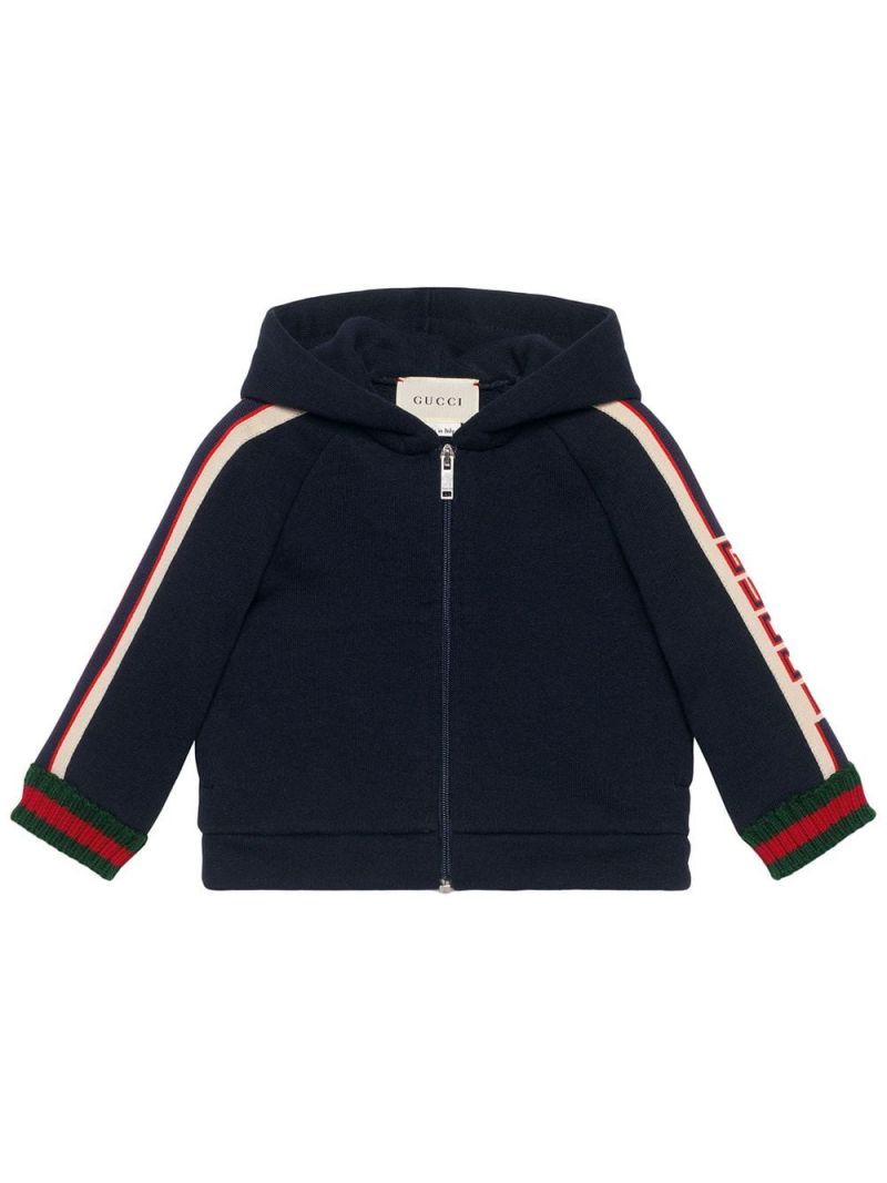 GUCCI CHILDREN: cotton full-zip hoodie with logoed bands Color Multicolor_1