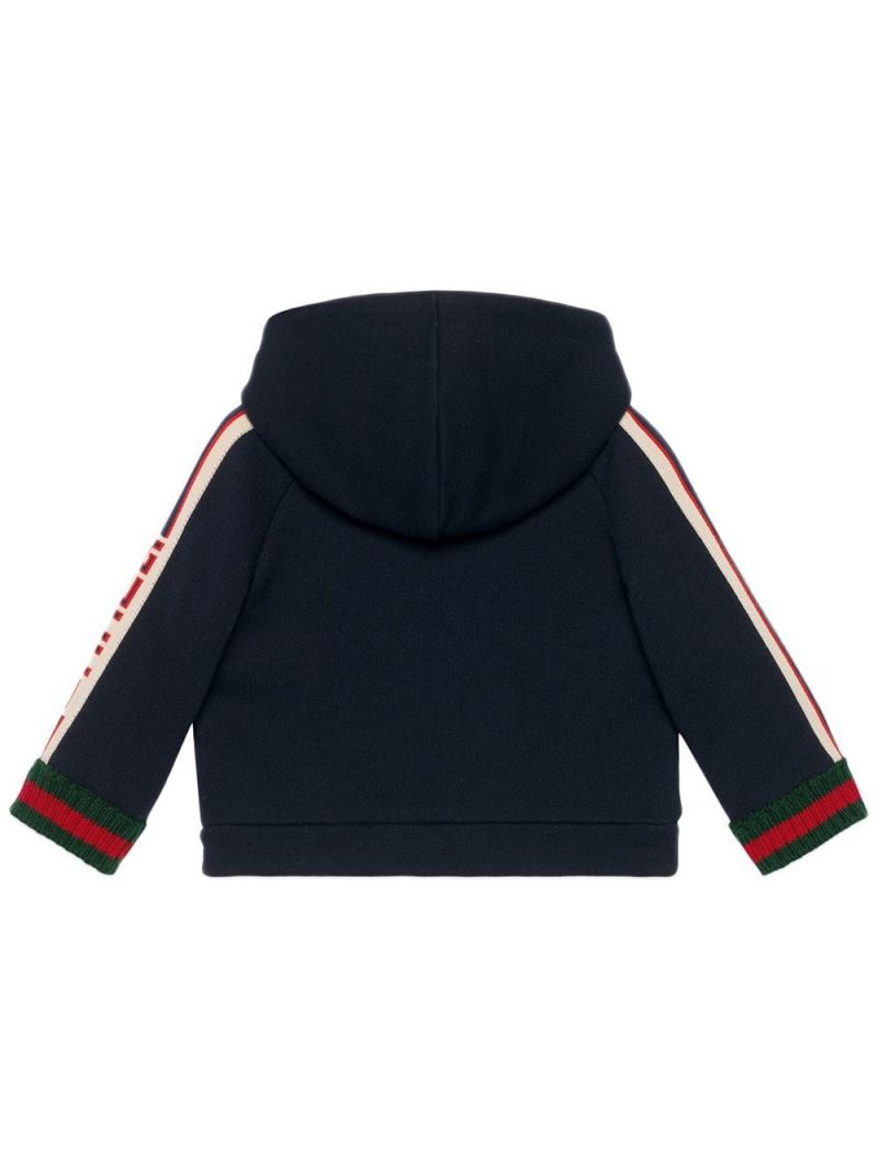 GUCCI CHILDREN: cotton full-zip hoodie with logoed bands Color Multicolor_2