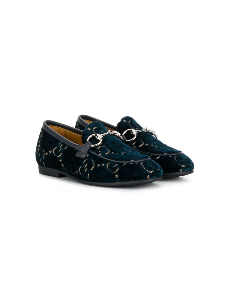 GUCCI CHILDREN: mocassino Jordaan in velluto GG Colore Blu_1