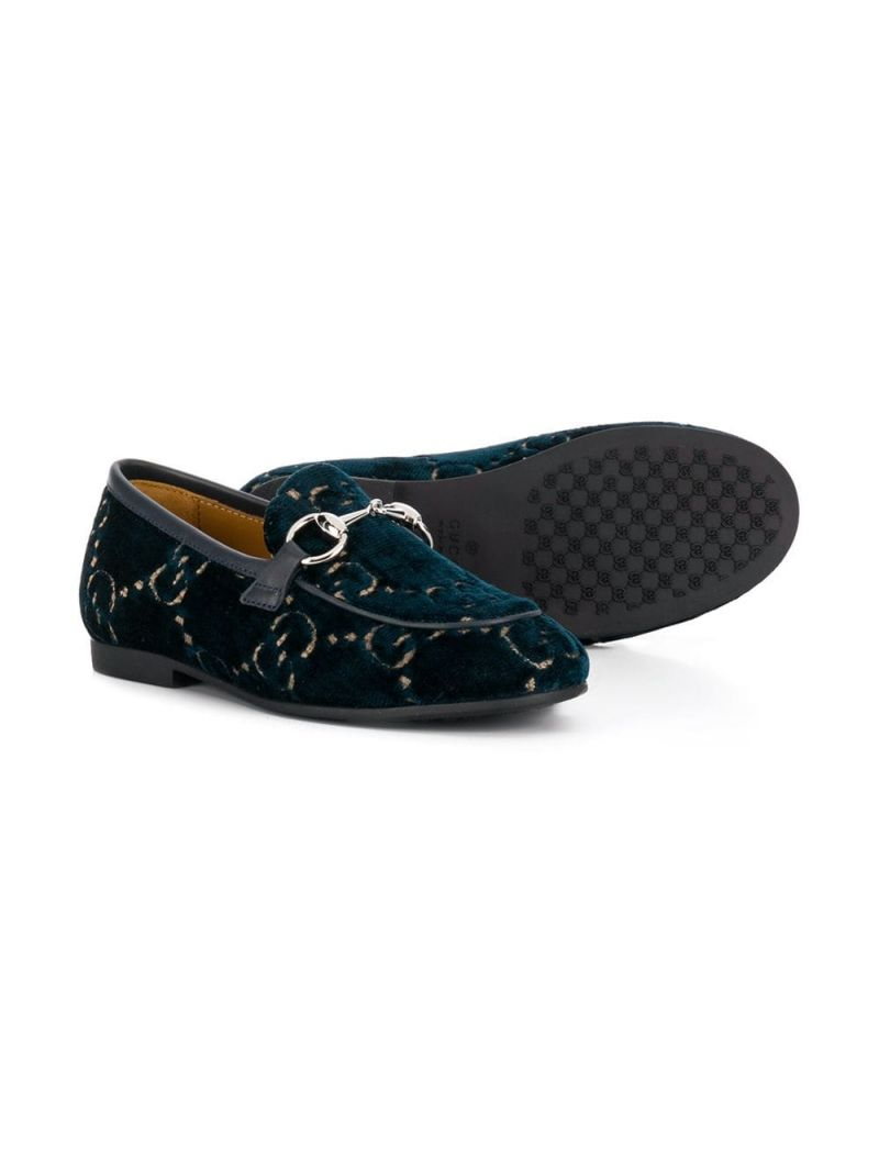 GUCCI CHILDREN: mocassino Jordaan in velluto GG Colore Blu_2